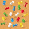 Group of thumbtacks pinned on corkboard front view vector illustration set Stock Photography
