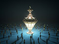 A group of tiny people walking towards a vintage light bulb 3d r