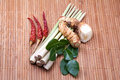 Group of tomyum thai food seasoning ingredients on wood background Royalty Free Stock Image