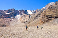 Group of trekkers in the Fany mountain Royalty Free Stock Photo