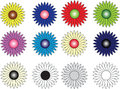 Group of twelve flowers of different colors made vectorial and isolated Stock Photography