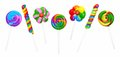 Group of unique lollipops isolated on white assortment colorful a background Royalty Free Stock Image