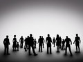Group of various people silhouettes society standing and looking ahead concept community business urban life diversity etc Royalty Free Stock Photography