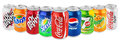 Group of various soda drinks in aluminum cans isolated on white Royalty Free Stock Photo