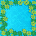 Group vector water lilies floating on water surface. Water background