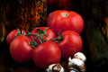 Group of vegetables still life tomatoes and other veggies Stock Images
