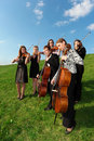 Group of violinists play standing on grass Stock Photo