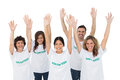 Group of volunteers raising arms on white background Stock Images
