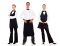 Group waiter waitress full length portrait white Royalty Free Stock Photos