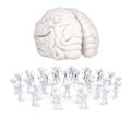 Group of white people worshiping brain d render isolated on background Stock Image