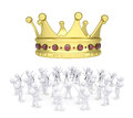Group of white people worshiping crown d render isolated on background Stock Photography