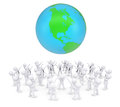 Group of white people worshiping earth d render isolated on background Stock Photography
