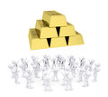 Group of white people worshiping gold bricks d render isolated on background Royalty Free Stock Image