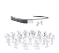 Group of white people worshiping google glass d render isolated on background Royalty Free Stock Photo