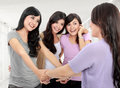 Group of woman meet old friend Stock Image