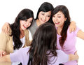 Group of woman meet old friend Royalty Free Stock Images