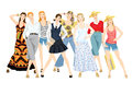 Group of women in different style of clothes.
