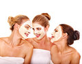 Group women with facial mask getting and gossip isolated Stock Photography