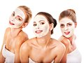 Group women with facial mask woman getting and gossip isolated Royalty Free Stock Photo