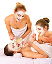 Group women with facial mask young getting and gossip isolated Stock Photo