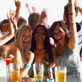 Group of women having fun at a bar Stock Photos