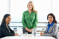 Group of women meeting in office business having smiling to camera Royalty Free Stock Photos