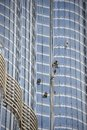 Group of workers cleaning windows dubai united arab emirates february the burj khalifa in dubai february dubai Stock Photos