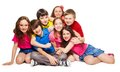 Group years old kids hugging smiling laughing white Royalty Free Stock Photography