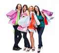 Group young adult people with colored bags Stock Photography