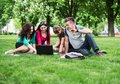 Group of young college students sitting on grass in the park Stock Image