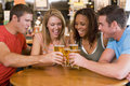 Group of young friends toasting in a bar Royalty Free Stock Image