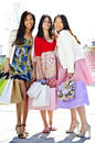 Group of young girlfriends shopping Stock Photography