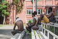 Young handsome sportsmen sitting and resting after game Royalty Free Stock Photo
