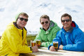 Group Of Young Men Enjoying Drink In Bar At Ski Resort Royalty Free Stock Photo