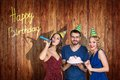 Group of young people celebrate happy birthday. Royalty Free Stock Photo