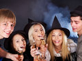 Group young people drinking champagne. Stock Image