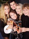 Group young people at nightclub. Royalty Free Stock Photography