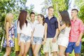 Group of young people in the park Royalty Free Stock Photo