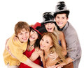 Group young people on party in hat isolated Stock Photo