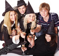 Group young people on party isolated Royalty Free Stock Images