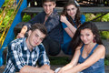 Group of Young people posing outdoors Royalty Free Stock Photo