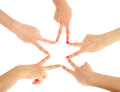 Group of young people's hands Royalty Free Stock Images