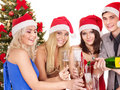 Group young people in santa hat. Royalty Free Stock Images
