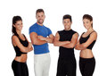 Group of young people with sport clothes isolated on a white background Royalty Free Stock Photo