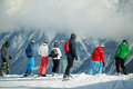 Group of young skiers Royalty Free Stock Photography
