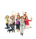 A group of young teenagers jumping together Stock Photo