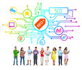 Groupe de personnes avec seo network Images libres de droits