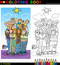 Groupe heureux d'adolescents pour la coloration Photos stock