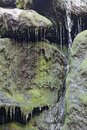 Water drizzling down algae covered rocks Royalty Free Stock Photo