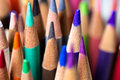 Grouping of colored pencils macro Stock Photo